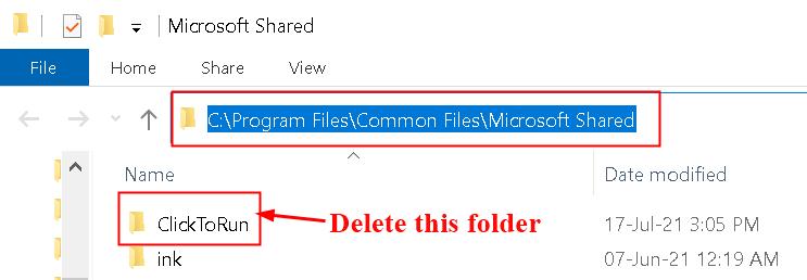 Delete Click To Run Folder Min