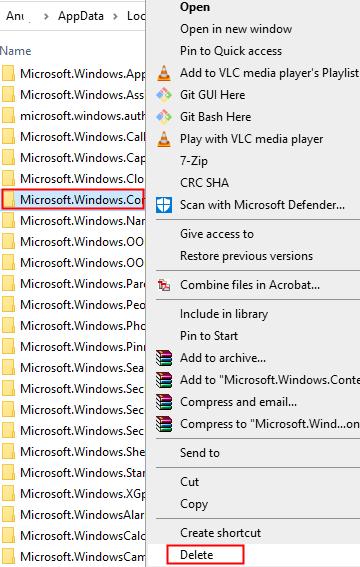 Delete The Windows Cortana Folder