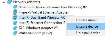 Device Manager Disable The Network Adapter
