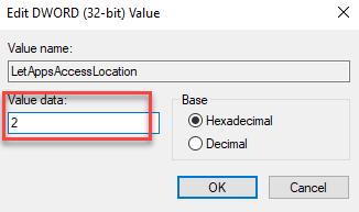 Edit Dword (32 Bit Value) Value Data 2 Ok