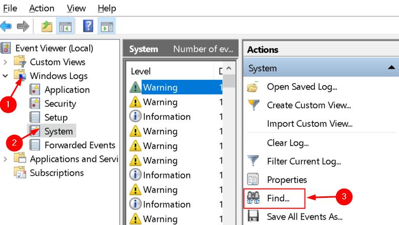 Event Viewer Find System Log Min