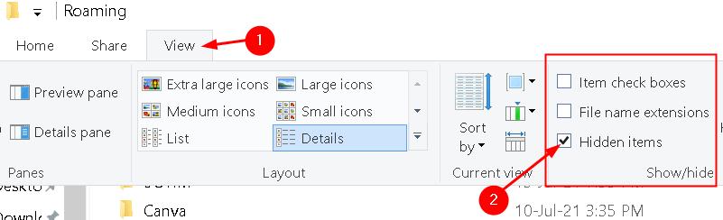 File Explorer View Check Hidden Items Min