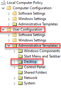 Group Policy Editor User Configuration Administrative Templates Desktop