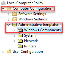Group Policy Editor Left Side Computer Configuration Administrative Templates Windows Components