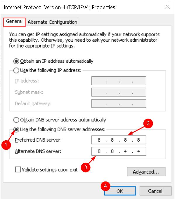 Ipv4 Properties Change Dns Server Addresses Min