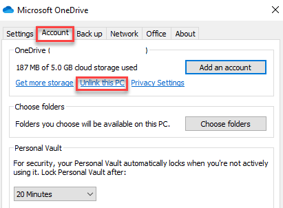 Microsoft Onedrive Dialogue Box Account Unlink This Pc