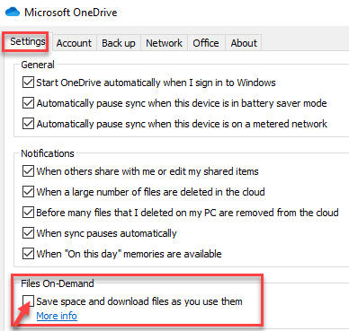 Microsoft Onedrive Dialogue Box Settings Files On Demand Save Space And Download Files As You Use Them Uncheck