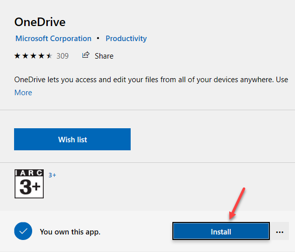 Microsoft Store Onedrive Install