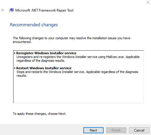 Net Repair Tool Apply Recommended Changes