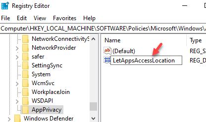 New Dword Value Rename Letappsaccesslocation
