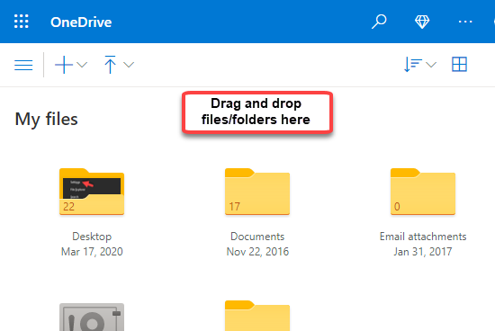 Onedrive Online Version Drag And Drop Files Or Folders
