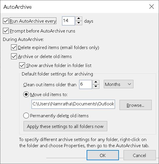Outlook Autoarchive Min