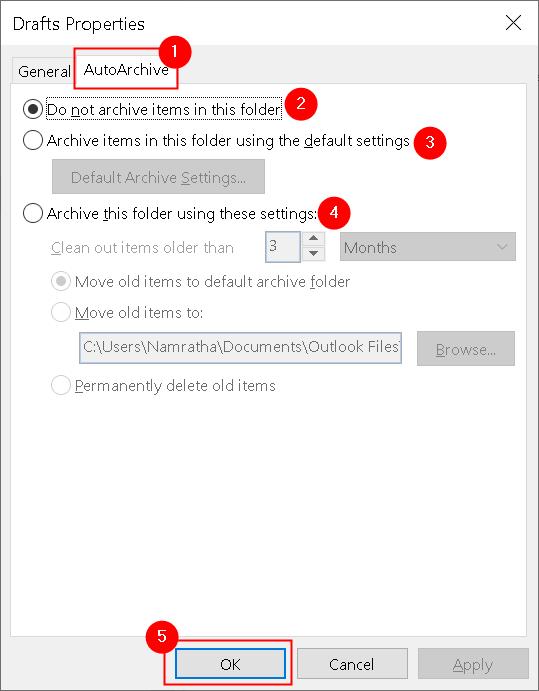 Outlook Folder Properties Autoarchive Tab Min