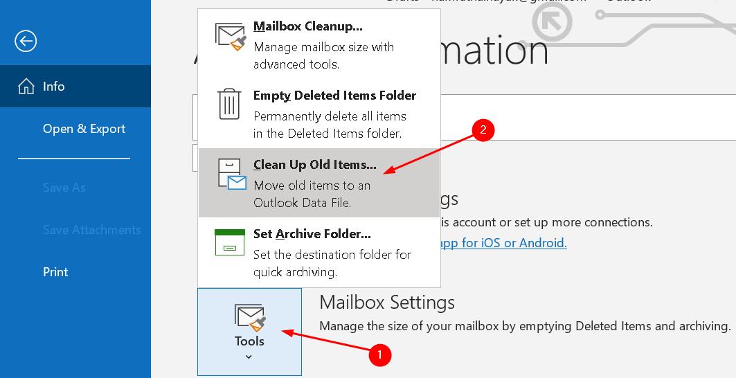 Outlook Manual Archiving Files Tools Menu Min