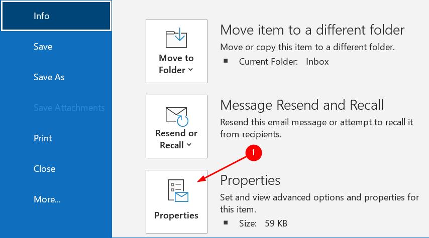Outlook Message Properties Min