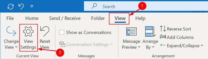 Outlook View Menu Min