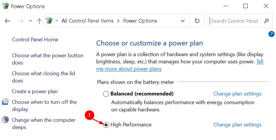 Power Plan Selection Min