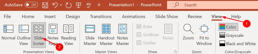 Powerpoint View Slide Sorter