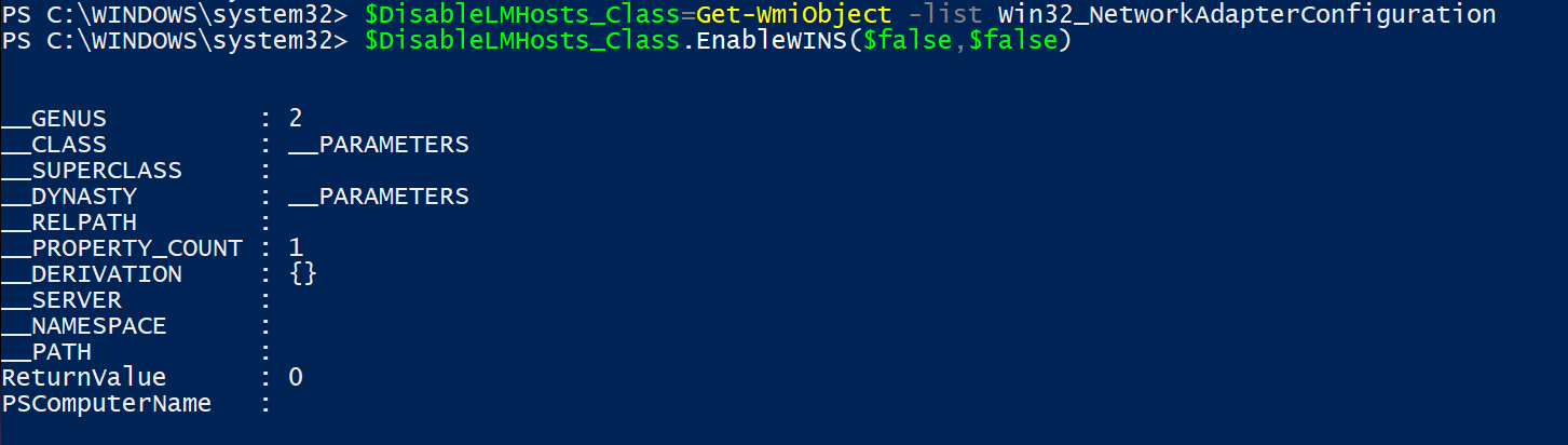 Powershell Disable Lmhosts Commands