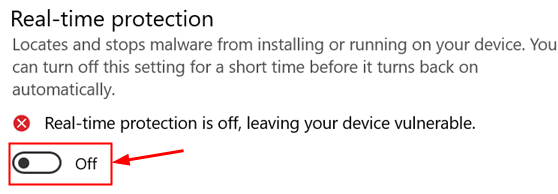 Real Time Protection Toggle Off Min
