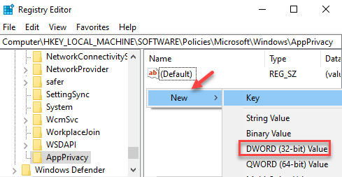 Registry Editor Appprivacy Right Side Right Click New Dword (32 Bit) Value