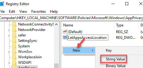 Registry Editor Appprivacy Right Side Right Click New String Value