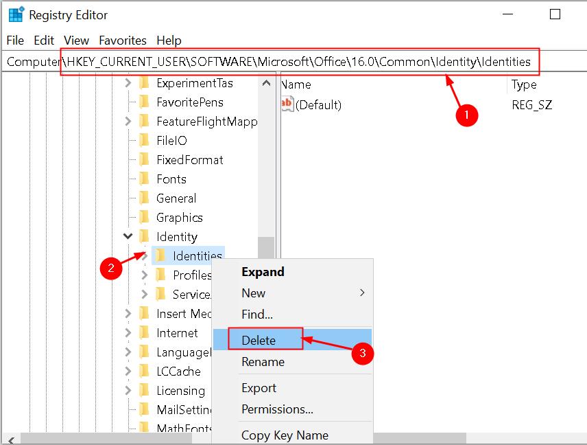 Registry Editor Delete Identity Key Min
