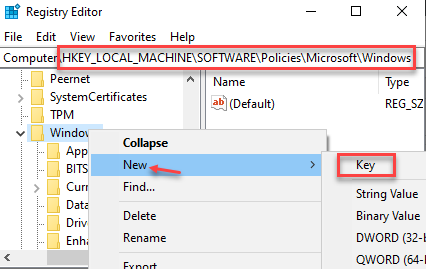 Registry Editor Navigate To Path Right Click On Windows New Key