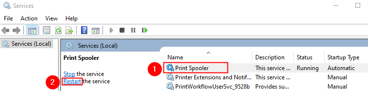 Restart The Print Spooler Service