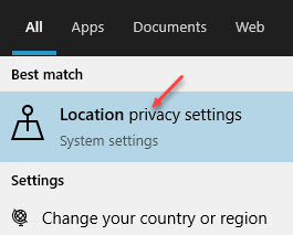 Result Location Privacy Settings