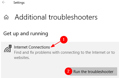 Run Internet Connections Troubleshooter