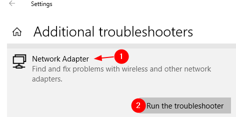 Run Network Adapter Troubleshooter
