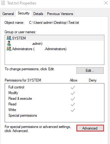 Security Tab Click On Advanced
