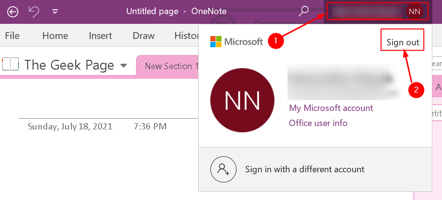 Sign Out Onenote Min