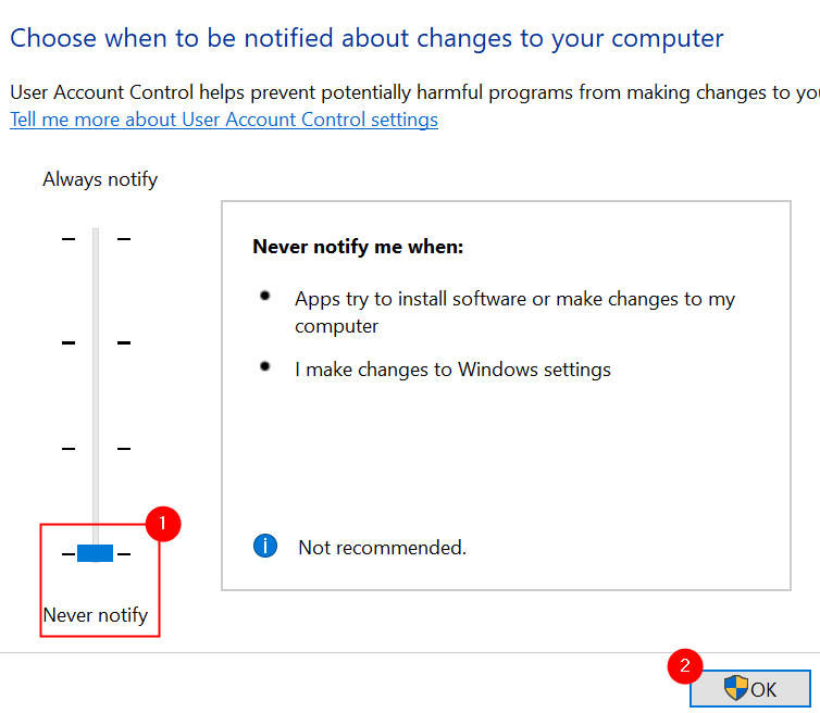 System Configuration Uac Settings Never Notify Min