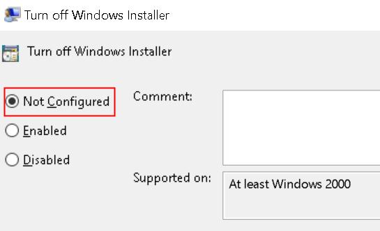 Turn Off Windows Installer Not Configured Min