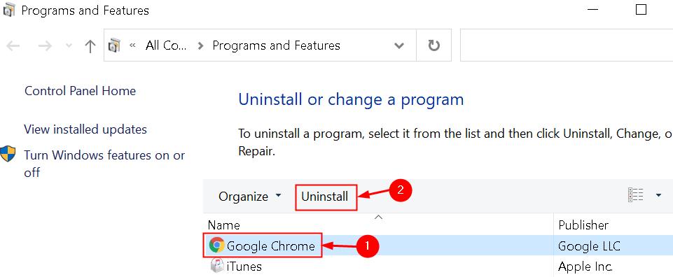 Uninstall Google Chrome Min