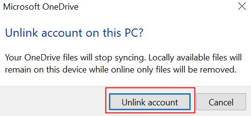 Unlink Onedrive Account Confirmation
