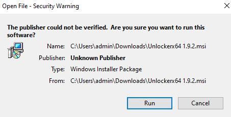 Unlocker Security Warning
