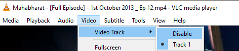 Video Track Disable