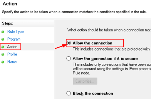 Wfas New Rule Action Allow Connection Min