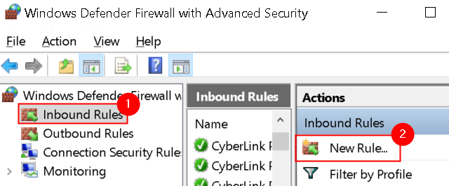 Windows Firewall Advanced Security Inbound Rules New Rule Min
