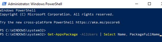 Windows Powershell (admin) Run Command To Get Pfn