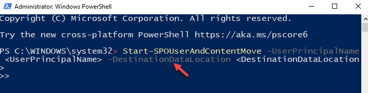 Windows Powershell (admin) Run Command With Upn And Geo Enter