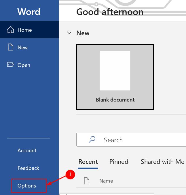 Word Options Min