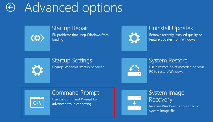 Advanced Options Startup Repair Startup Settings Command Prompt Min