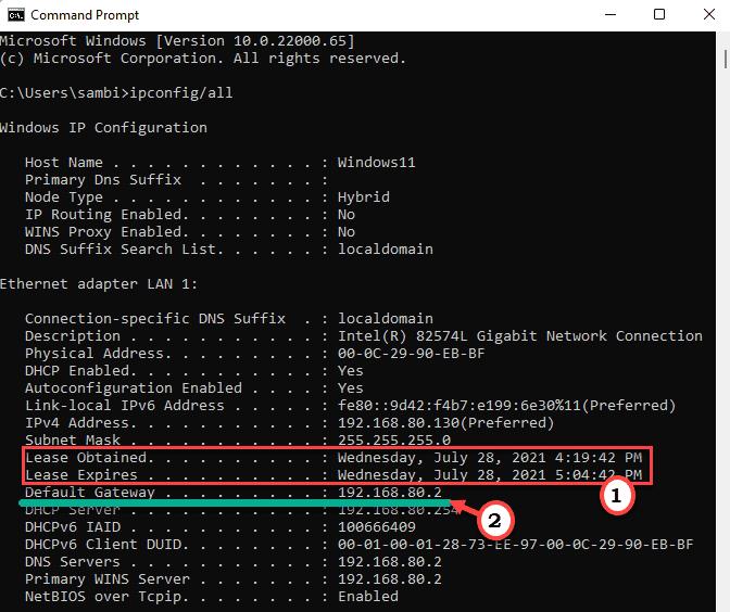 Lease Default Gateway Min