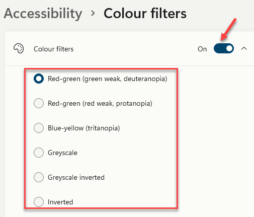 Accessibility Colour Filters Select From The List Of Preset Filters Min
