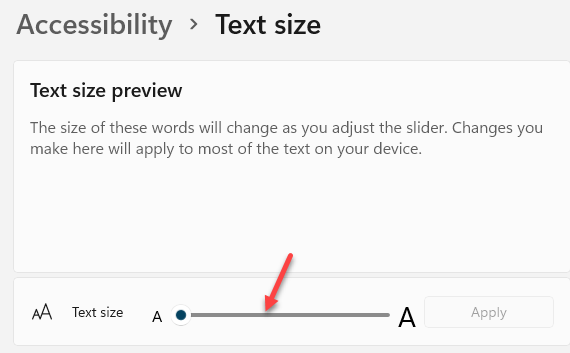 Accessibility Text Size Text Size Preview Text Size Move Slider Left Or Right