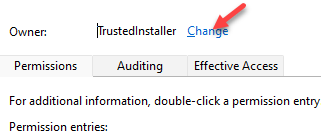 Advanced Security Settings Owner Change